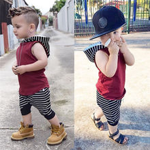Hot Sale New Trendy Baby Boys Conjunto infantil Toddler Kids Baby Boy Hooded Vest Tops+Shorts Pants 2pcs Outfits Clothes Set