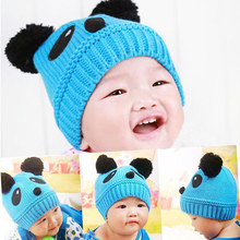 New Arrival 2017 Autumn And Winter Children Hat Baby Hat Cat Baby Knitting Hat Double Ball Warm Cap(China)