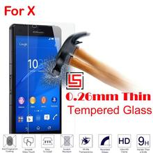 New Cheap 0.26mm 2.5D 9H Tempered Glass Verre Phone Cell Front Film Screen Protector Protective For Sony Xperia Experia X