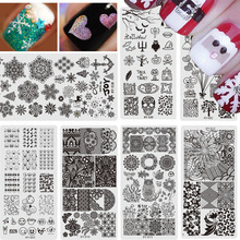 1PCS Nail Stencils Stamping Tools 2017 New Halloween Christmas Emoji Lace Steel Templates Nail Art Polish Decor Plate CHXYS