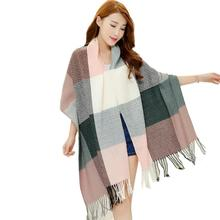 Women Scarf Autumn Winter Plaid Tassel Cashmere Scarves Fashion Light Fringe Long Shawl Scarf For Female Girl Accessories B1(China)