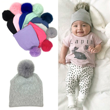2017 Baby Newborn Infant Toddler Boy Girl Cotton Real Fox Fur Ball Beanie Hat Cap New MAR3_30