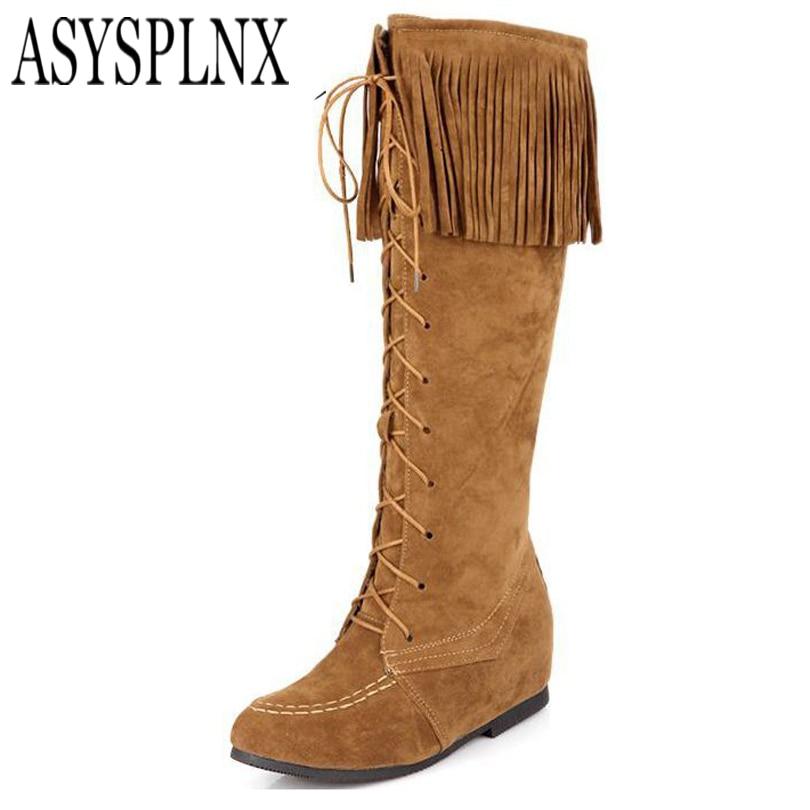 ASYSPLNX Increased Nubuck black brown yellow women knee high boots,2017 new winter warm Tassel shoes botas femininas<br><br>Aliexpress