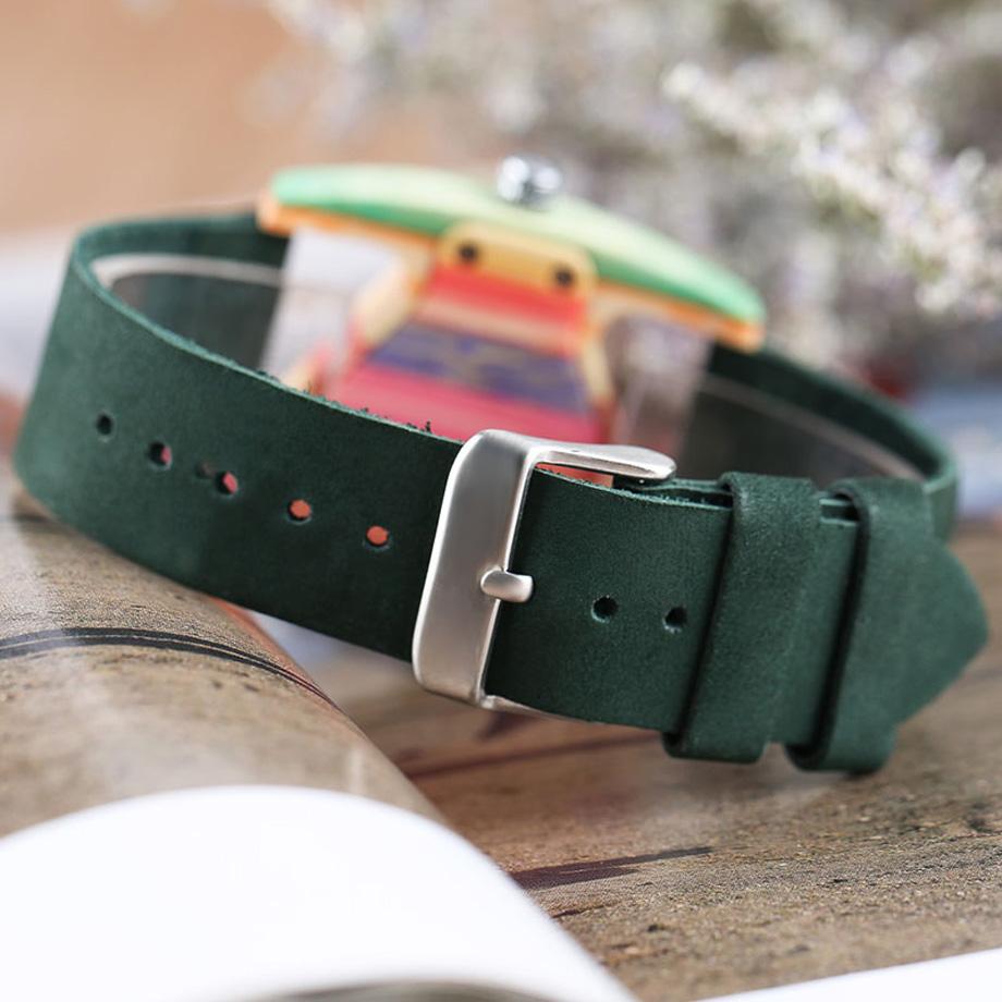 Creative Women Wood Watches Unique Colorful Wooden Triangle Hollow Quartz Wristwatch Ladies Elegant Fashion Genuine Leather Hour (10)