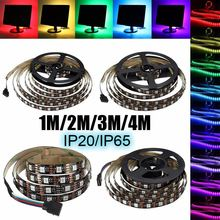 5050 SMD 4PIN 5V 1M/2M/3M/4M 60 RGB LED Strip Light Waterproof/Non Waterproof TV Back Lighting Kit With USB 24 Key Remote(China)