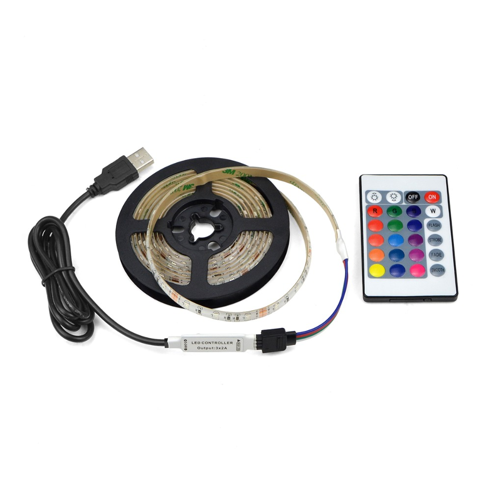 1M LED Strip Lights RGB 5V Controller Battery Powered RGB Multi-color Changing