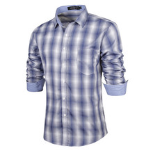 Men Shirt Long Sleeves 2016 Brand Shirts Men Casual Male Slim Fit Stripe Chemise Mens Camisas Dress Navy blue Shirts  XXL KJGDS