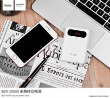 Original HOCO 10000mAh Power Bank Dual USB 5V 2.1A Output MiG External Battery Pack with LED Light for Android IPhones Tablets