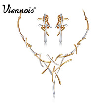 Viennois Hot Cross gold plated Jewelry Set for Women Gold & Silver Color/ Gun Color Earring Necklace Set(China)