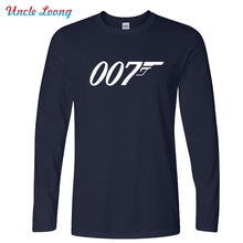 Autumn New Brand Quality Movie Film James Bond 007 T Shirts Long Sleeve O Neck Fashion Cotton Male T-shirts
