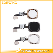 "10pcs/lot Home Button with Flex Cable for iPhone 6 4.7""/ 6plus 5.5"" Black/White/Gold Home Flex Assembly(China)"