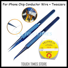 0.02mm*120M Chip Conductor Line For iPhone Motherboard Repair Enameled Copper Wire Polyurethane Soldering Line with Tweezer
