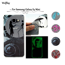 Wolfsay For Samsung Galaxy S4 Mini Case Slim Soft TPU Silicone Glow Case For Samsung Galaxy S4 Mini i9190 Night Light Cover <