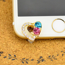 Luxury Colorful Diamond Heart Shape Front Anti Dust Plug Diamond ustproof Plug For For iPhone5,5C,6,6S Mobile Phone Accessories