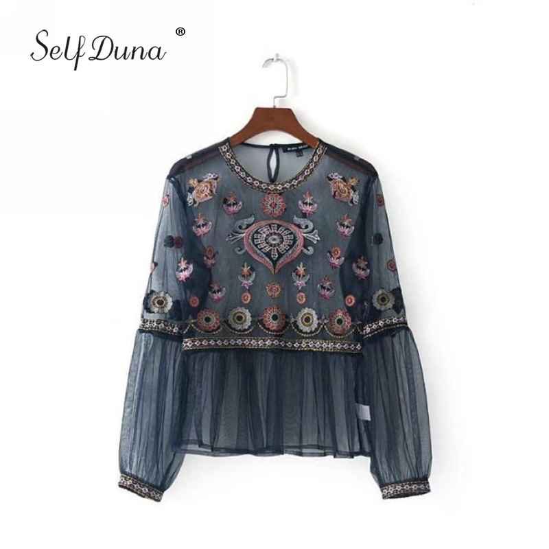 Self Duna 2019 Floral Embroidery Blouse Sexy Transparent Vintage Embroidered Long Sleeve Mesh Female Blouse Shirt Crop Top