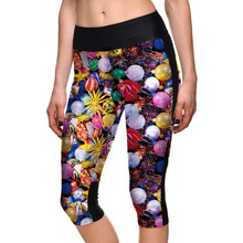 Hot Womens Print Active Fitness Capri Leggings Slim Cropped pants For Female Fashion Plus Size Skinny 3/4 Length Trousers S-4XL(China)