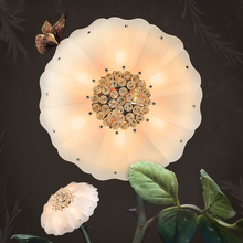 Flower Lotus Crystal glass ceiling lights for Elegant Living Room Bedroom Foyer Home Lighting white Indoor Home ceiling lamps(China)