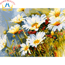 HOME BEAUTY 40x50cm picture paint on canvas diy digital oil painting by numbers home decoration craft coloring white daisy E585