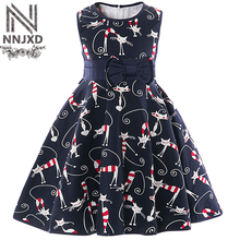 Children's Girl School Dresses Baby Summer Toddler Girls Kitty Outfit Cat Costume For Kids Clothes Girls Grade Prom Party Dress