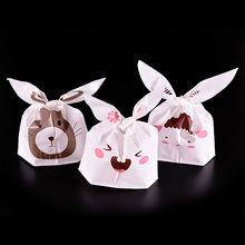 5pcs/lot Cute Rabbit Ear Biscuit Bag Moisture Proof Plastic Candy Box Cookie Bags Snack Cake Gift Packaging Bag Wedding Supply