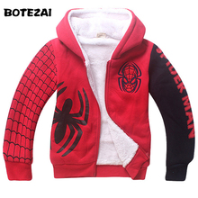 Baby Boys Spiderman Fleece Hoodies/Kids Winter Warm Cartoon Outerwear Clothing/Children Spider-man Thicken Sweatshirts Coat(China)