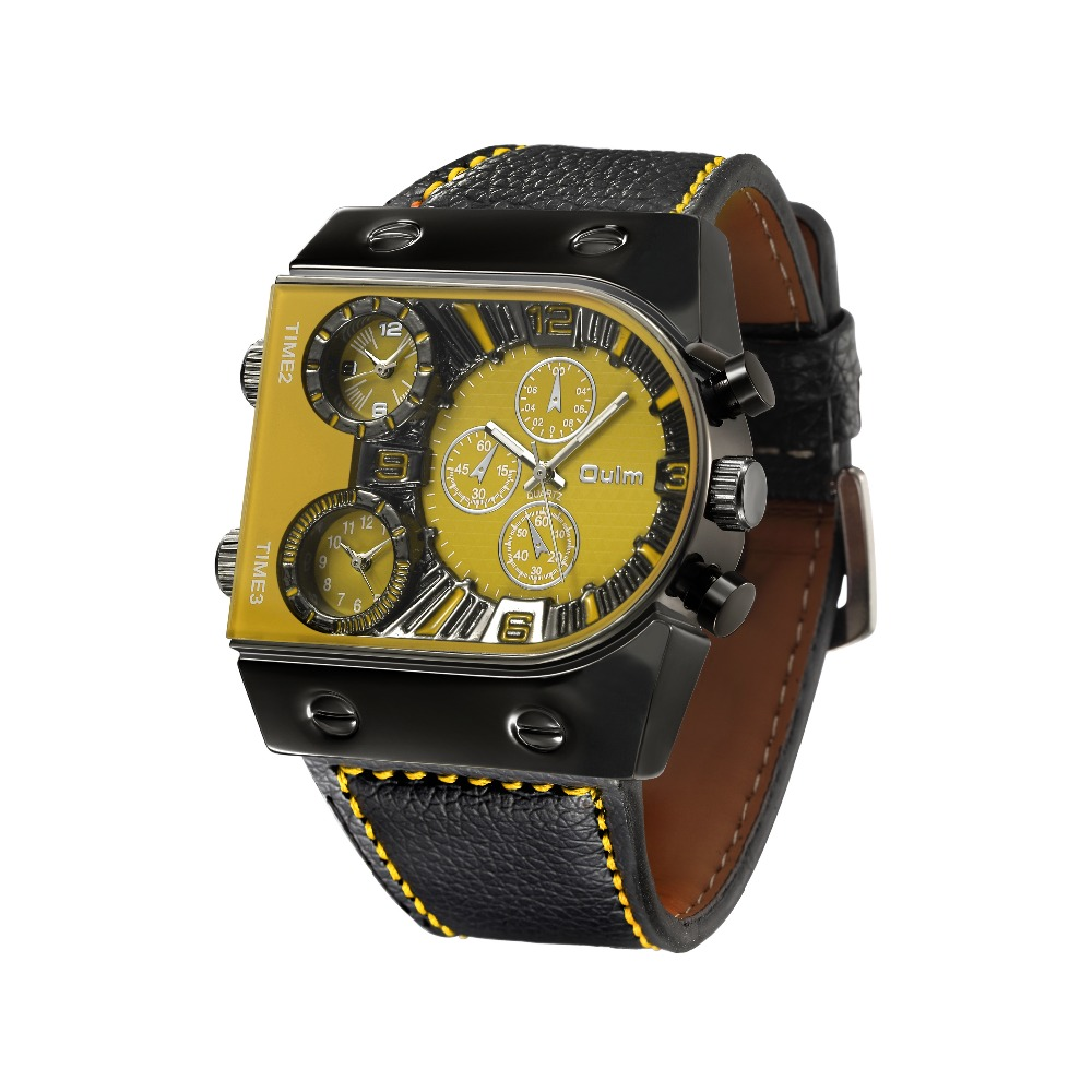 OULM Sport Watch Men Quartz Analog Clock 3 Time Zone Sub-dials Design Big case Oversize Fashion Black Wrist Watches relogio 26