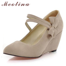 Meotina Shoes Women Pumps Spring Pointed Toe High Heels Mary Jane Ladies Shoes Wedge Heels Bow Wedges Aprcot Blue Big Size 9 10(China)