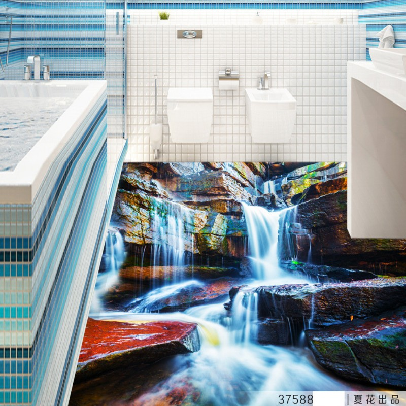 Free Shipping Waterfalls generate 3D flooring non-slip thickened bedroom living room bathroom square lobby flooring mural<br><br>Aliexpress