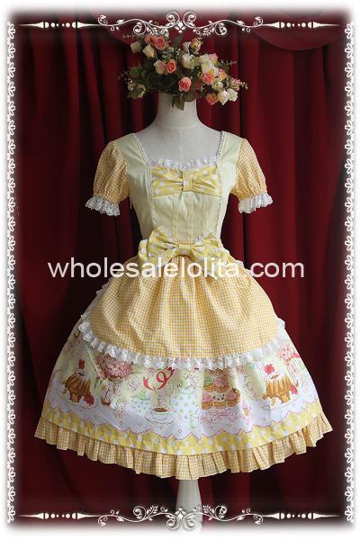 Желтый Крем Семинар Sweety Печати ОП Лолита Dress(China)