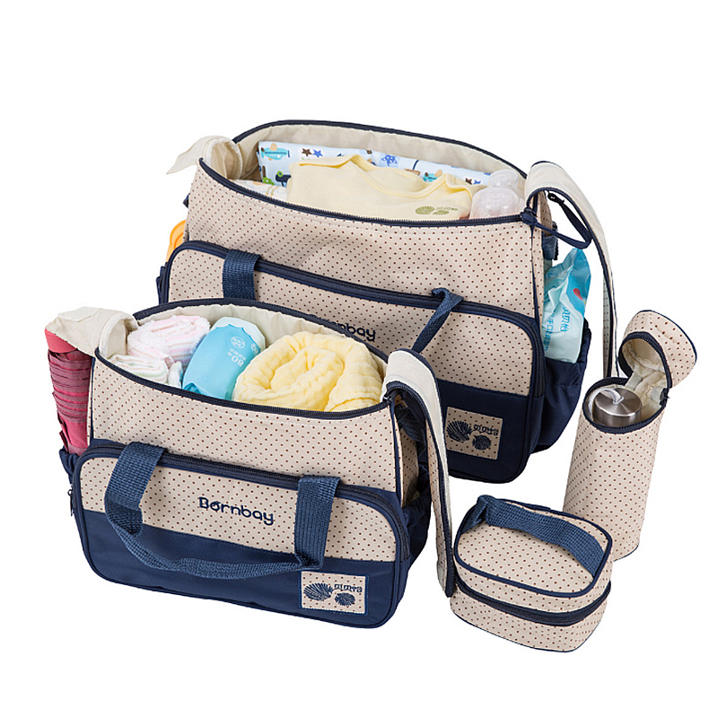 5 PCS/Set Mommy Diaper Bag with Baby Nappy Changing Mat Nappy Bags  Large Capacity Maternity Stroller Bag sac a langer maternite<br>