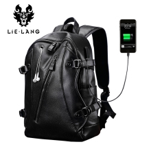 LIELANG Men Backpack External USB Charge Waterproof  Backpack Fashion PU Leather Travel Bag Casual School Bag For Teenagers (China)