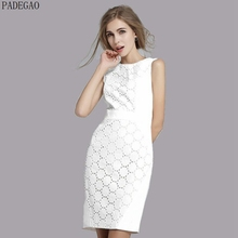 PADEGAO ivory 2017 plus size lace office dress sheath hollow out patchwork short lace dress casual formal party bodycon dresses(China)