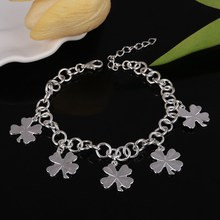 2017 New Fashion Silver Clover Bracelets Bangles Women Jewelry Chain Friendship Bracelets High Quality Wedding Christmas Gifts
