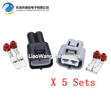 5 Sets 2 pin socket HID harness connectors plastic connector with terminal DJ7021B-4.8-11/21 2P(China)
