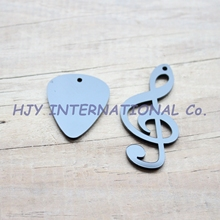 (2styles, 30pcs each style) 50mm Acrylic Guitar Pick & Music Sign Black Ornaments 2.0 inches-AC1280KO(China)