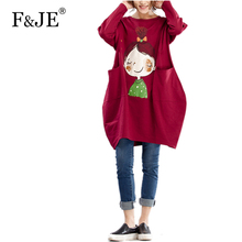 F&je New 2017 Spring Women's Large Size Printing Loose Dresses Femme Casual Clothing Fashion Women Plus Size Dresses J007(China)