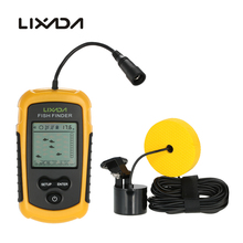 Lixada FF1108-1 Sonar Alarm Fish Finder Echo Sounder 0.7-100M Transducer Sensor Depth Finder Round Sonar Sensor with 7.5m Cable