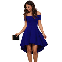 LDZHPS 2017 Summer autumn fashion women Bohemian beach dresses sexy strapless slash neck dress casual Tunic Irregular dress