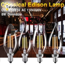Buy TSLEEN 6 X LED Filament Lamps E14 Candle Light Bulb E12 C35 Dimmable Ampoule Edison Bulb Retro Vintage Flame Led 110V 220V for $14.60 in AliExpress store
