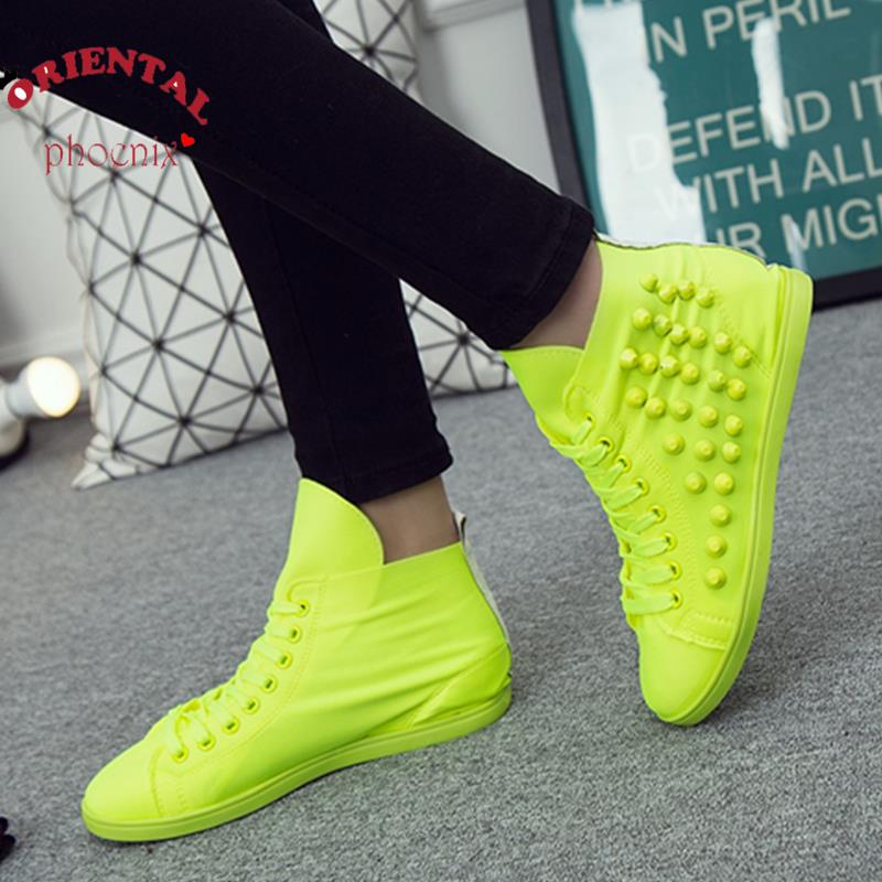 Rivets Candy Color Women Shoes 2017 New Spring Elastic Cloth Fluorescent Color Casual Shoes Plus Size 40 High Top European Style<br><br>Aliexpress