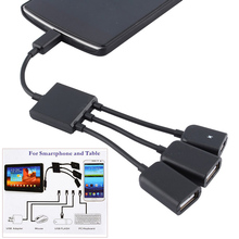 3 in 1 USB OTG Cable Micro USB Hub USB OTG Adapter for Smartphone Tablet  DY-fly
