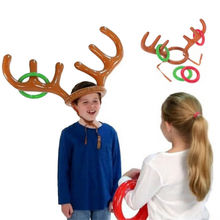 2017 1 Pcs Christmas Halloween New 1 PC Fashion Funny Reindeer Antler Hat Inflatable Toy Party Rings Toss Game Kid Gift(China)