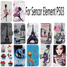 AiLiShi Fashion PU Cartoon Leather Case For Sencor Element P503 Elegant Colorful Painted Cover Skin Patterns Flip With Card Slot