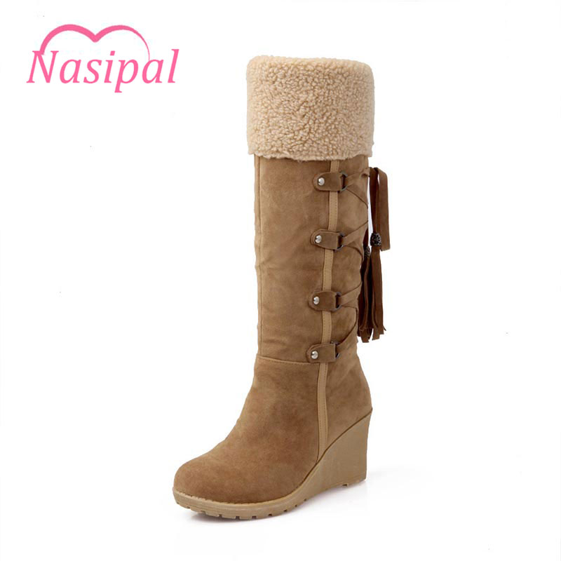 Nasipal Women Boots Tassels Mid-calf Boots Woman Casual Shoes Winter Warm Snow Boots Fashion Lady Wedges Heels Lace up C049<br>