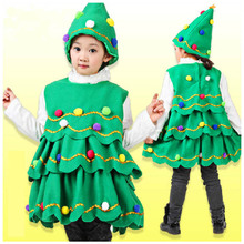 New Year Girl Christmas Tree Dress Baby Sleeveless Vest Hat Christmas Party For Girl belle dress Princess Wearing Winter Dress(China)