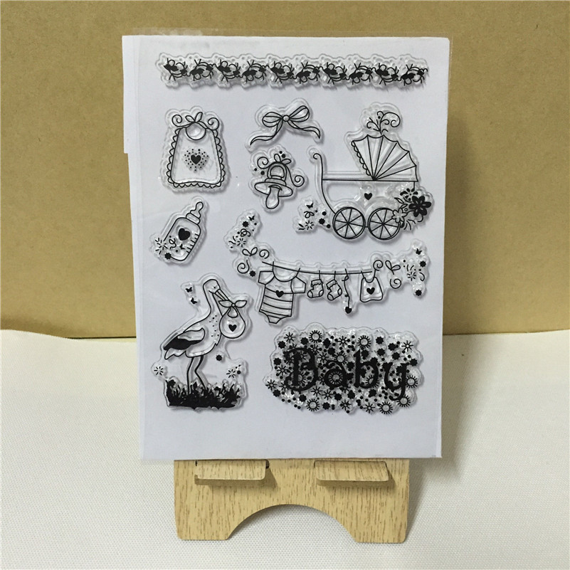 scrapbooking DIY Transparent Clear baby clothing and carriageRubber Stamp Seal Paper Craft Scrapbooking Decor FF-053<br><br>Aliexpress