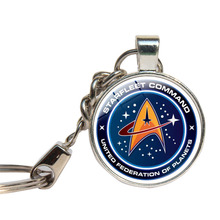 Movie Star Trek Keychain Glass Cabochon Spacecraft U.S.S. Enterprise Key Ring For Fans Glass Dome Key Chains Jewelry Key Holder(China)