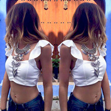 New 2016 Summer Womens Sexy Backless Strappy Bra Crop Top blusas Ladies Chiffon Blouse Halter Vest Tank Tops Beach Tee Shirts Z1