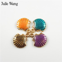 Buy Julie Wang 16PCS Alloy Enamel Shell Charms Mixed 4 Colors Necklace Pendants Earrings Bracelet Making Jewelry DIY Accessories for $1.71 in AliExpress store