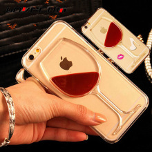 LOVECOM For iPhone 5 5S SE 5C 6 6S 7 Plus Mobile Phone Case Red Wine Liquid Quicksand Transparent Clear Hard Back Cover Shell